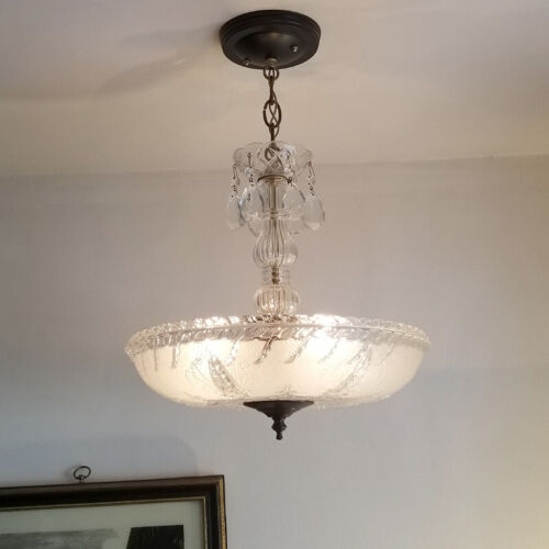 554b Vintage Antique 40's Ceiling Lamp Fixture Glass Shade Chandelier 1 OF 2