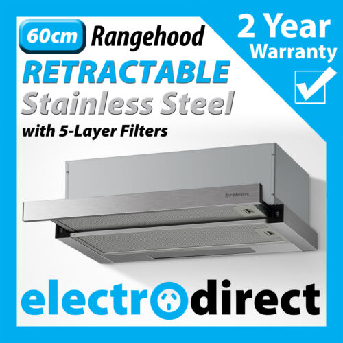 BRILCON 60cm Slide Out Rangehood Stainless Steel Range Hood 600mm with LED light <br/> Full 2 Year Warranty - Retracting Retractable Powerfull