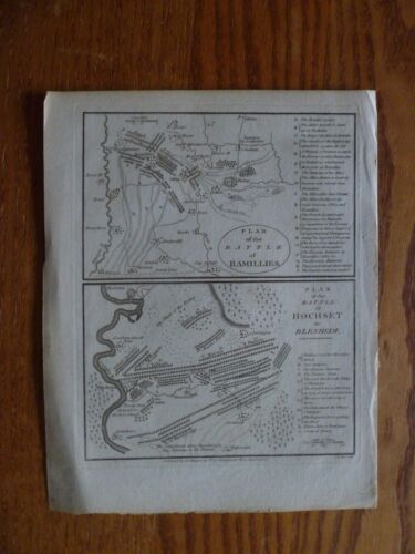 1781 Map of Battle of Ramillies / Hochset -Hand Made Paper-Spanish Succession