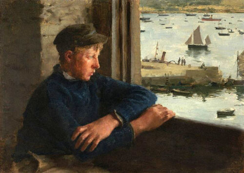 GAY Oil painting Henry Scott Tuke - The Look Out young boy by the window canvas