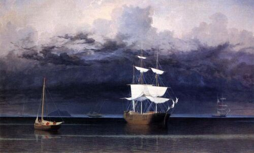 Oil painting Fitz Hugh Lane - Approaching Storm big sail boats on ocean canvas