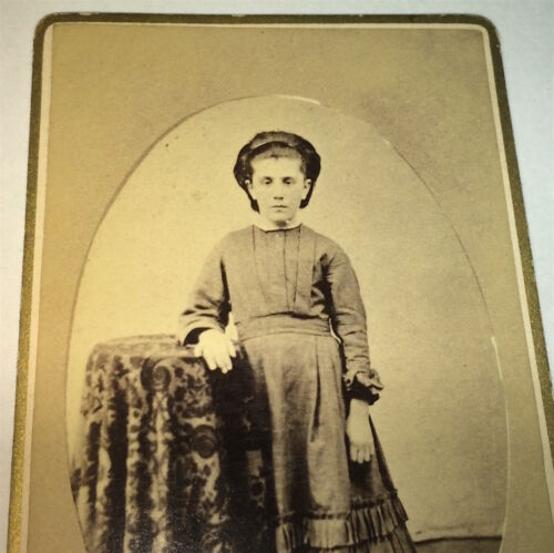 Antique Victorian American Fashion Dress Little Girl, Lovely Hair! CDV Photo! US