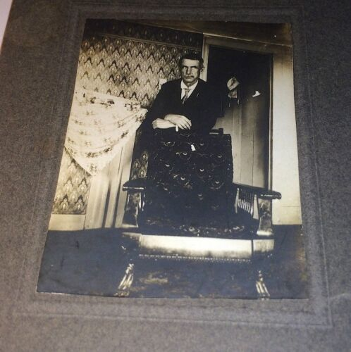 Antique Cabinet Photograph of Great Worn Old Man W/ Looming Eyes in Suit! Small!