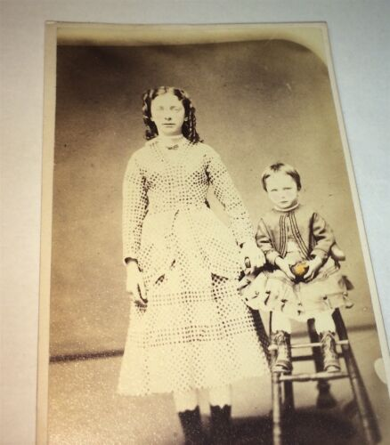 Antique Victorian American Fashion Young Woman & Little Boy & Ball CDV Photo! US