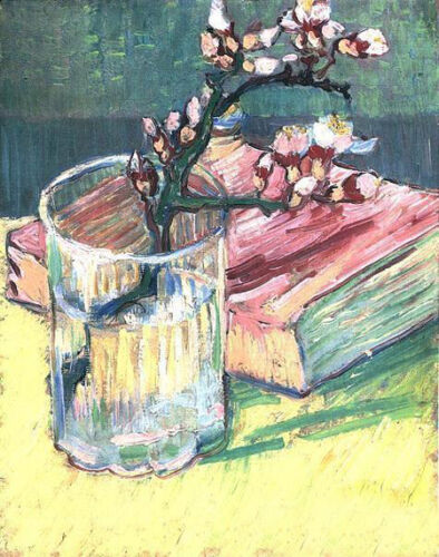 Oil Vincent Van Gogh - Blossoming Almond Branch in a Glass with a Book