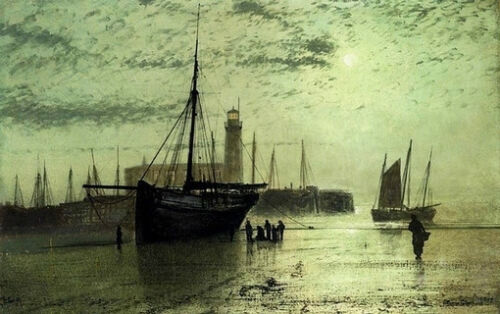 Nice oil painting John Atkinson - The vessel aground in the harbor & lighthouse