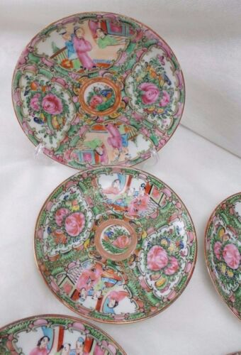 ANTIQUE ORIGINAL 4 COFFEE TEA CUPS & LINERS  ROSE MEDALLION CHINESE