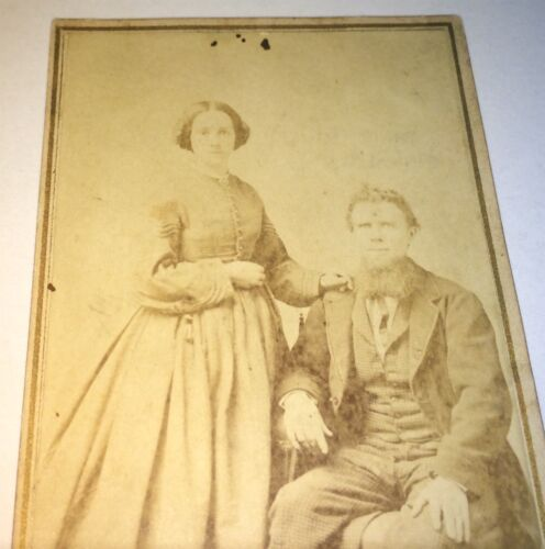 Antique Beautiful Victorian American Fashion Couple! Madison Wisconsin CDV Photo