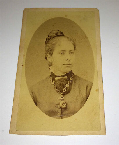 Antique Lovely Victorian Fashion Woman, Watch &  Crazy Jewelry! Old NY CDV Photo