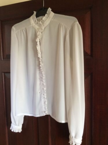 Frilly Vintage 60s/70s Blouse Pearl type Buttons Malcolm Millar L/Sleeve Size 12