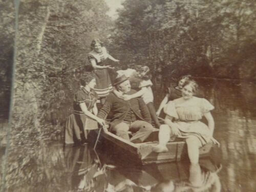 """Antique Risque Stereoview Card of """"The Boatman Somewhat Rattled"""""""