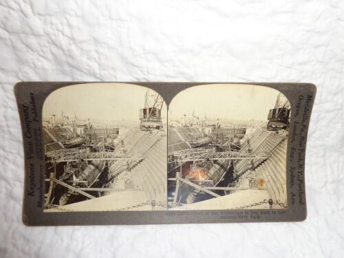Antique Military Stereoview Card of Four Submarines in Dry Dock at Navy Yard