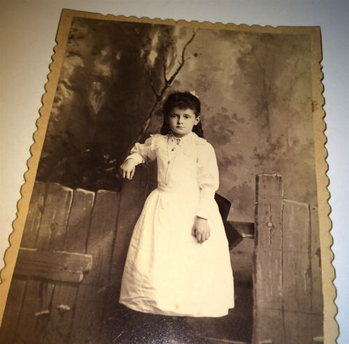 Antique Beautiful Young American Girl White Dress & Dark Hair! PA Cabinet Photo!