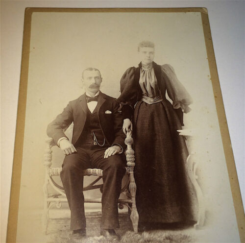 Antique Victorian American ID'd Couple Mr. & Mrs. Houslin Old Cabinet Photo! US