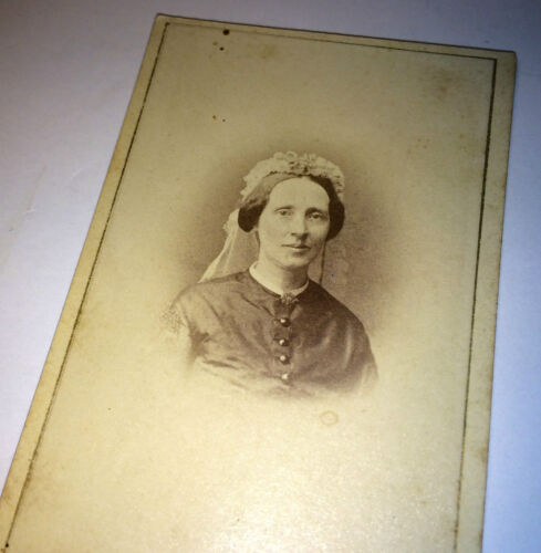 Antique Victorian European Woman & Veil - Oslo / Christiana C.1860's CDV Photo!