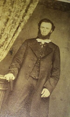Antique Tall Victorian Gentleman, Great Fashion, White Bow! Book! Old CDV Photo!