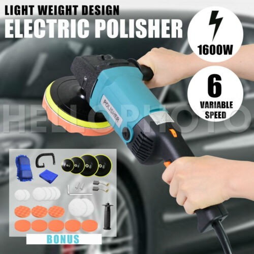 Polisher Car Buffer Sander Pad Electric Tools Kit 6 Speed 1600W 240V 180mm 150mm <br/> Bouns 4x Velcro Pads,8x Soft Palms,8x Wool Palms,etc