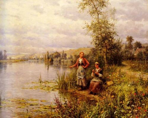 Nice Oil painting Country Women Fishing on a Summer Afternoon in landscape