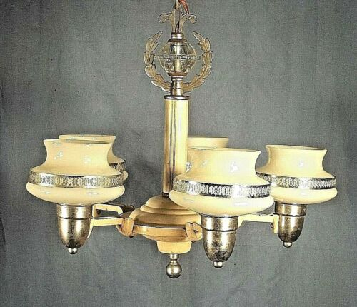 ANTIQUE ART DECO ART NOUVEAU 5 ARM CHANDELIER WITH ORIGINAL SHADES
