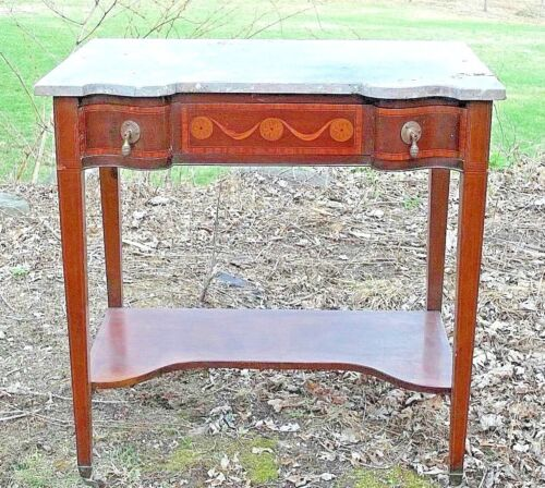ANTIQUE VICTORIAN ART NOUVEAU ONE DRAWER MARBLE TOP INLAID MAHOGANY SIDE TABLE