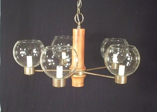 MID CENTURY MODERN TEAKWOOD AND IRON CHANDELIER WITH ORIGINAL GLASS BALL SHADES