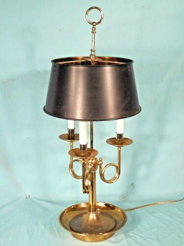 MID CENTURY 3 ARM BOUILLOTTE DOUBLE SOCKET BRASS LAMP WITH SOLID BRASS SHADE