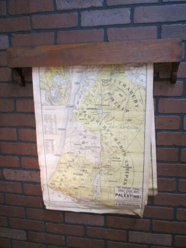 "Vintage Antique A. H. Eilers Sunday School Maps w/ Wooden Holder 25"" by 18"""