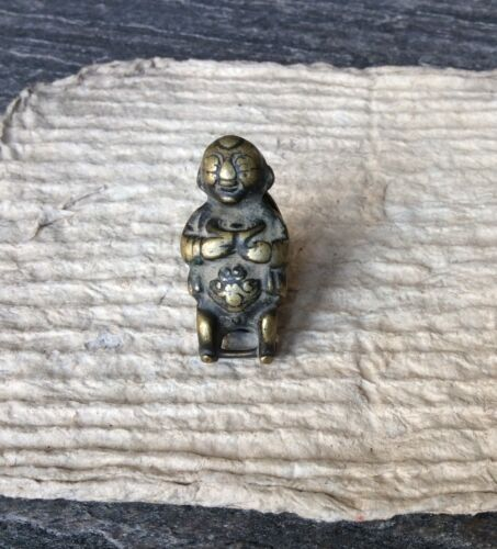 19th cent Chinese bronze baby boy toggle / charm