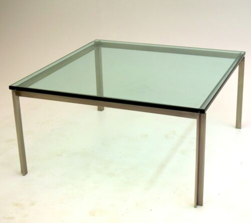 Large Stainless Steel Square Table Glass likely PACE Vintage Mid Century Modern