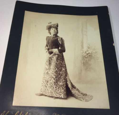 Rare Antique Victorian American Woman, Fashion Dress! Chickering Cabinet Photo!