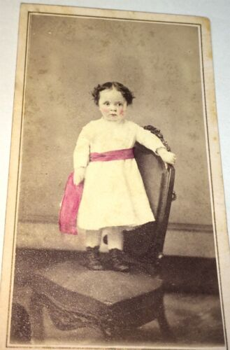 Antique Victorian American Fashion Pink Sash Rosy Cheeks Child! NY CDV Photo! US