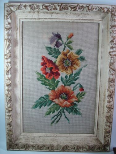 Antique Victorian Frame with Needlepoint Petit Point Flowers