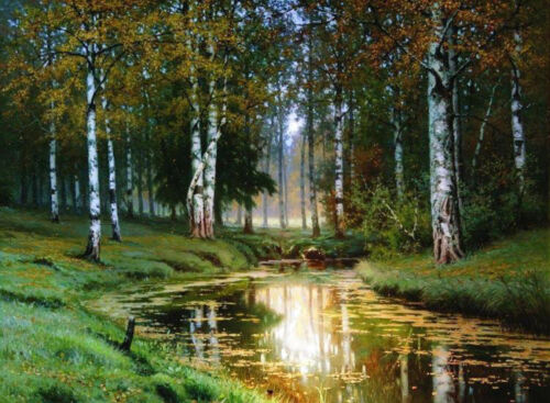 Oil Volkov, Efim Efimovich - Landscape with a river Cross the forest on canvas