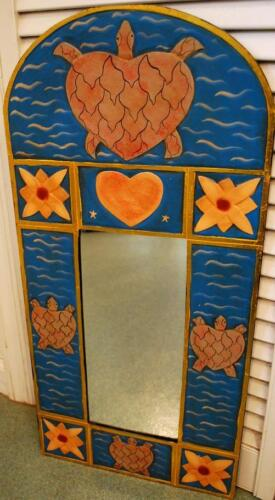 """Vintage Indonesia HAND CARVED Oval Wood Frame Wall Mirror TURTLES HEARTS 27.5"""""""