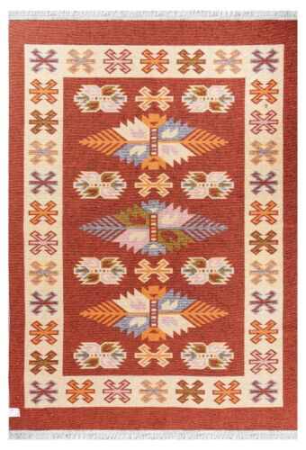 Limited Time Promotional Traditional Turkish Kilim Terracotta / Cream Area Rug