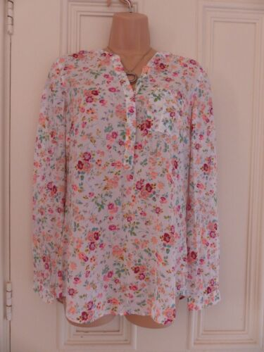 Really lovely M&S Collection white floral blouse UK8, peach, pink, blue, green