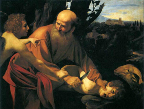 Canvas Oil painting Isaac martyrdom the son of Abraham and Sarah Hand painted