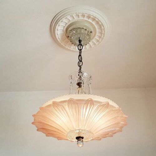 315 Vintage 40's Ceiling Light Lamp Fixture Chandelier antique pink SUNFLOWER
