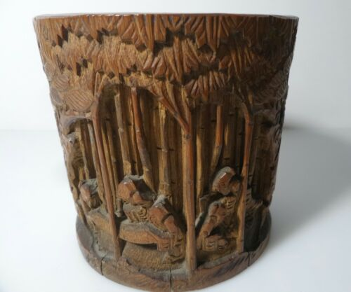 Antique chinese  bamboo vase engraved Antico vaso in bambù cinese inciso