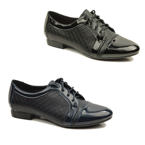 WOMENS CASUAL LACE UP SCHOOL OFFICE OXFORD LOAFERS SHOES LADIES PUMPS SIZE 3-8