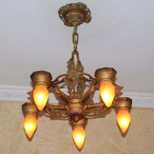 933 Vintage aNtique 30s art nouveau Ceiling Light Lamp Fixture Chandelier