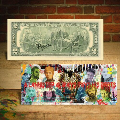 GAME OF THRONES Genuine Legal Tender $2 U.S. Bill Pop Art HAND-SIGNED by Rency