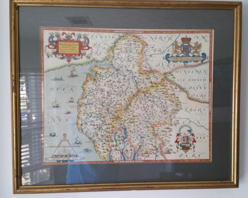 Framed Christopher Saxton Westmorland Cumberland 1576 Map England C20th Repro
