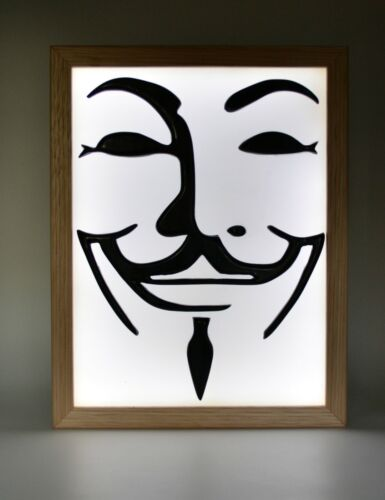 Guy Fawkes Mask Limited Edition Wax Painting Light Box