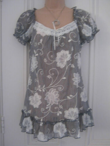 Gorgeous Per Una size 8 grey mesh top with white embroidered flowers and lace