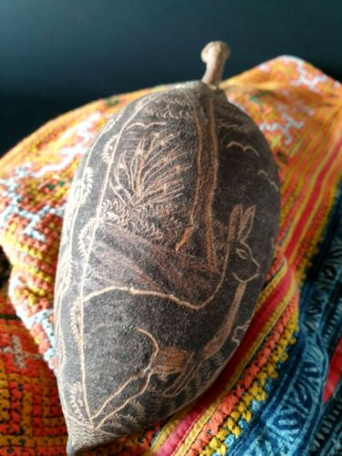 Old Australian Aboriginal Carved Kimberley Boab Nut …beautiful collection item