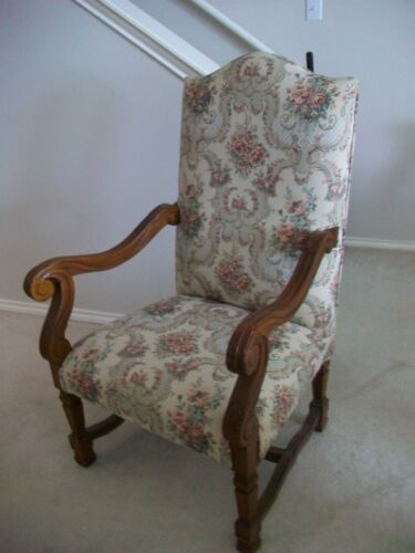 French High back medieval Throne sheep's bone Arm Chair Mint*HOUSTON TEXAS ONLY*