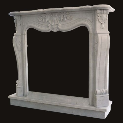 Camino Marmo Bianco Cornice Stile Classico White Marble Classic Fireplace Frame