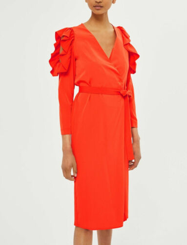 Topshop Red Ruffle Frilled Cold Shoulder Wrap Midi Dress UK 8 10 12 14 16 BNWT