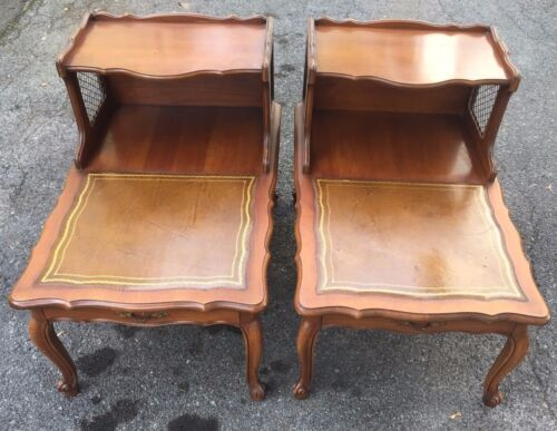 2 Antique QUEEN  ANNE Leather Top Step End Tables, Two Tier Nightstands - Rare!!